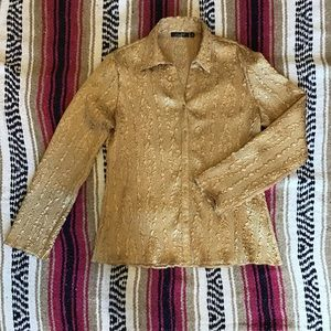 Gold crinkle button down shirt